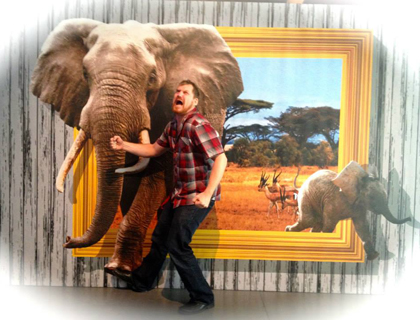Man posing with an elephant at the CSI experience