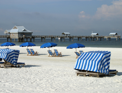 Clearwater beach with umbrellas