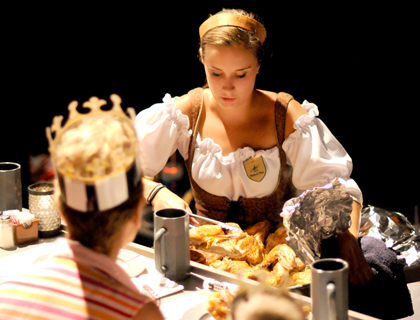Girl serving food at the Medieval Times Dinner Show