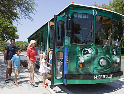 Family boarding I-Ride Trolley Orlando