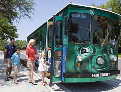 Family boarding I-Ride Trolley Orlando