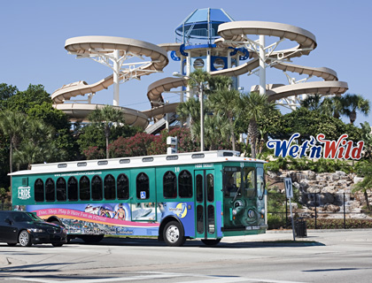 I Ride Trolley outside Wet n Wild Orlando