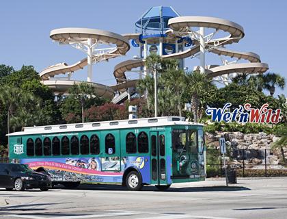 I Ride Trolley outside Wet n Wild Orlando