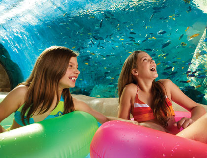 Girls on loggerhead lane ride Aquatica