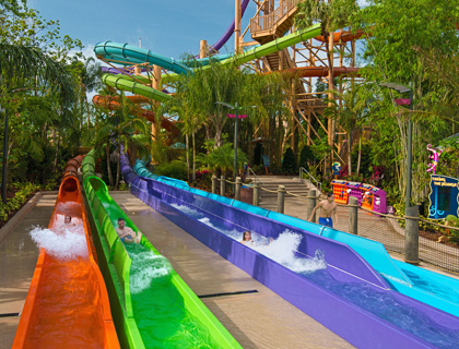 Three people reaching the end of the Walkabout Waters Slides at Aquatica
