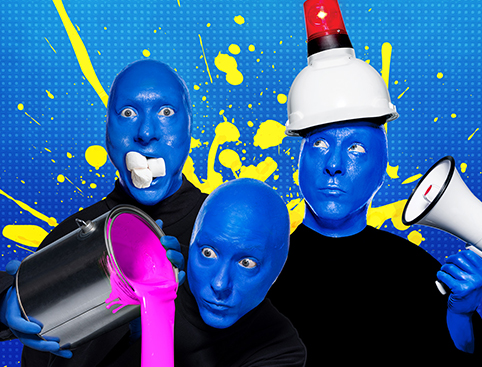 Blue Man Group stood outside Universal studios
