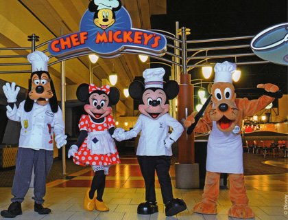 Goofy, Mickey, Minnie and Pluto in chef aprons in front of Chef Mickey's