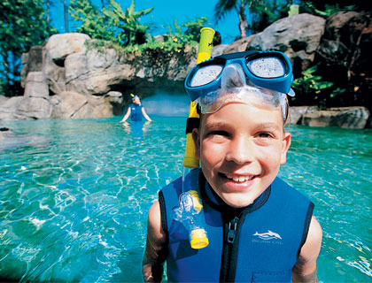 Boy snorkelling at Discovery Cove