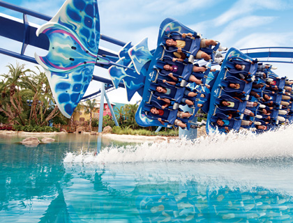 People getting splashed on Manta Ride at SeaWorld Orlando