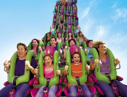People riding The Incredible Hulk Coaster at Universal Orlando Florida