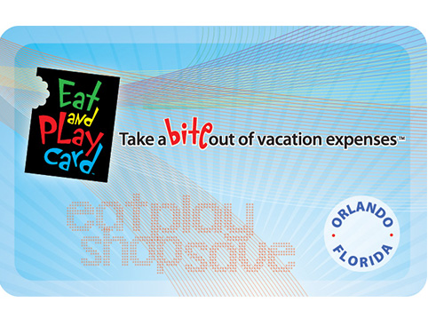 Light blue Eat & Play card saying: Take a bite out of vacation expenses