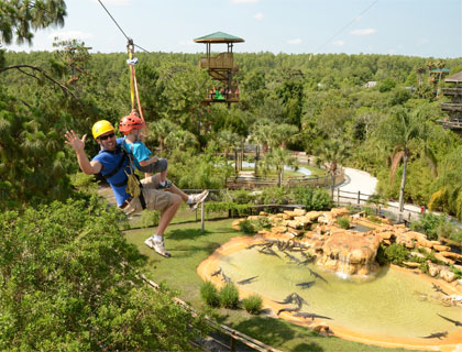 Man and boy riding the Gatorland Zip Line