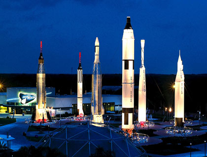 kennedy space center rocket garden at night