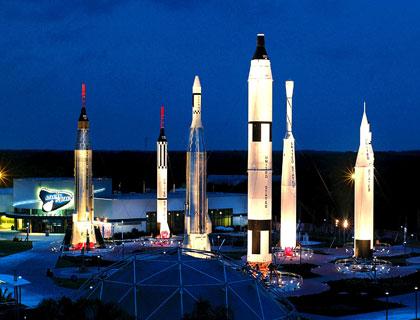 kennedy space center rocket garden at night