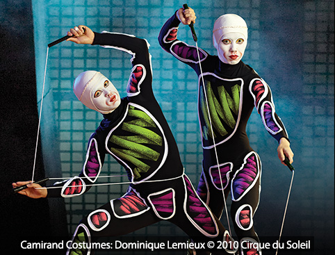 Two La Nouba Cirque Du Soleil Performers doing a trick