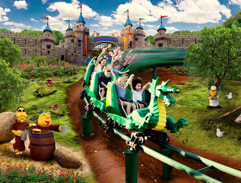 Children on a green dragon ride in the Imagination Zone at LEGOLAND Florida