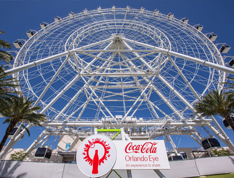 Bottom-to-top view of the Orlando Eye from the entrance