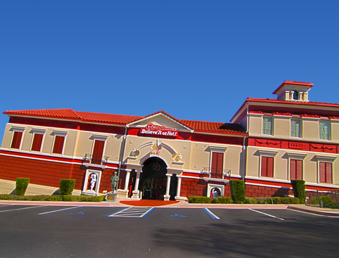 Front view of the red tilted building of the Ripley's Believe it or Not Orlando