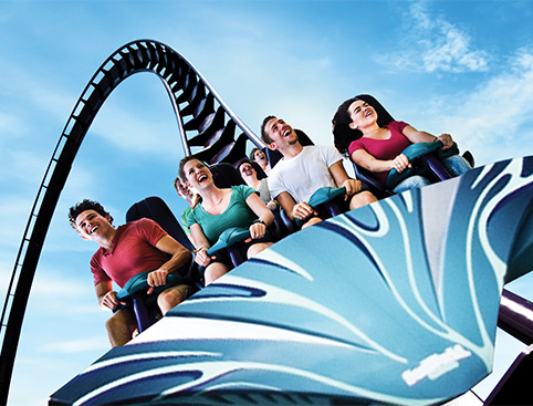 People smiling on Mako Ride at SeaWorld