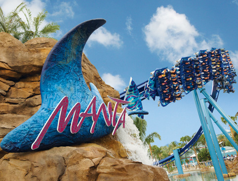 Zoomed out shot of Manta ride in action at SeaWorld Orlando