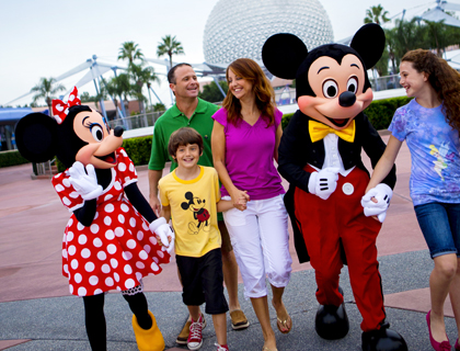 Minnie and Mickey Mouse with family of four at Disney's Epcot