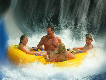 Family on water ride at Wet n Wild