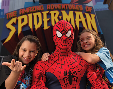 Spiderman with kids at Universal Florida