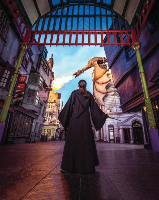 Girl vs dragon at wizarding World of Harry Potter Orlando