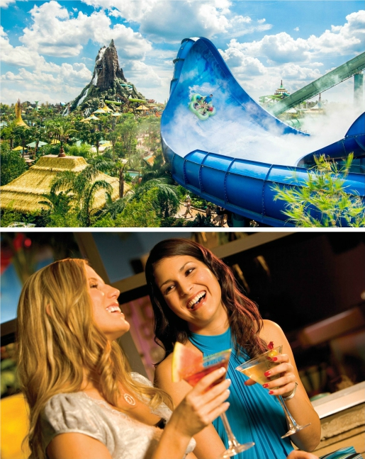 Honu ride at Volcano Bay and girls having cocktails at CityWalk