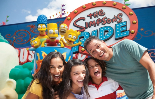 The Simpsons with family at Universal Florida