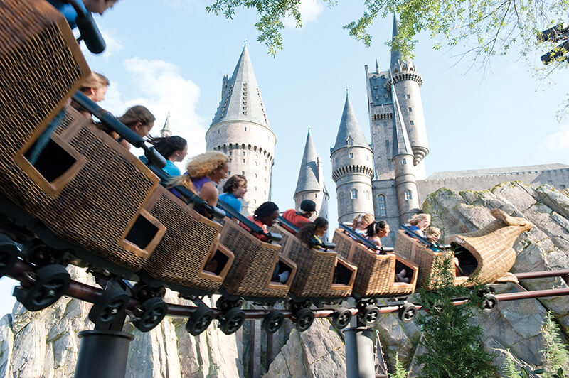 On a roller coaster at Hogsmeade